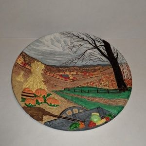 Other - Ceramic Hand Painted Vintage Fall Plaque